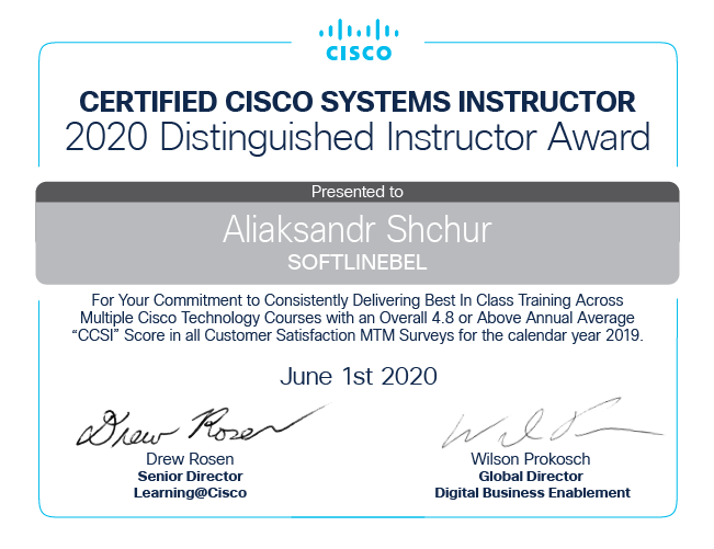 Александр Щур Cisco Certified Instructor Awards 2020